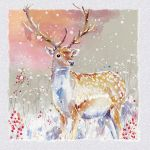 Luxury Boxed Charity Christmas Card Pack - 8 Cards Winter Stag - Dementia UK