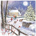 Charity Christmas Card Pack - 6 Cards Heading Home Xmas House Scene - Ling Design