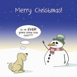 Christmas Card - Snowman Dog Throw that Stick - Funny Joke - Twizler