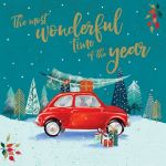 Charity Christmas Card - Wonderful Time Of Year Collecting the Tree Fiat 500 - Foiled Modern