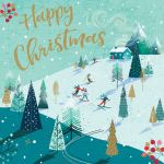 Charity Christmas Card Pack - Happy Xmas Alpine Christmas - Foiled Modern