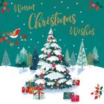 Charity Christmas Card Pack - Xmas Wishes Warm Winter Wishes Tree - Foiled Modern