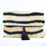 Black & White Silk Tassel Clutch Handbag - Handmade - My Doris
