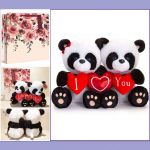 Panda Soft Toy - Hugging Pip Heart - I Love You - Keel - Free Gift Bag