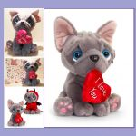 Blue French Bulldog Soft Toy - Heart I Love You - Keel - Free Gift Bag