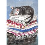 Tea Towel - Tabby Cat Laundry Basket - Alex Clark