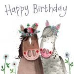 Birthday Card - Horses Brown Grey - Sparkle - Alex Clark