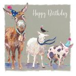 Birthday Card - Donkey Sheep Pig Farmyard Friends - The Wildlife Ling Design