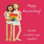 Wedding Anniversary Card - Female Lesbian Gay Couple Funny One Lump Or Two