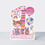 Birthday Card - Girl Kids - 1st Birthday Age 1 Toys - Die-cut - Star Jumps