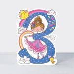 Birthday Card - Girl Kids - 3rd Birthday Age 3 Princess - Die-cut - Star Jumps