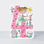 Birthday Card - Girl Kids - 4th Birthday Age 4 Fairy - Die-cut - Star Jumps