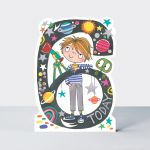 Birthday Card - Boy Kids - 6th Birthday Age 6 Stargazer - Die-cut - Star Jumps