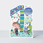 Birthday Card - Boy Kids - 1st Birthday Age 1 Toys - Die-cut - Star Jumps