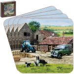 Farmyard Land Rover Collie Dog Coasters - Set of 4