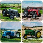 Vintage Tractor Design Coasters - Set of 4
