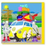 Greetings Card - Yellow Campervan - Sheep - Amy Whelan