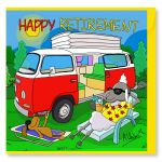 Retirement Card - Happy Campervan - Sheep - Amy Whelan