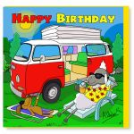 Birthday Card - Happy Campervan - Sheep - Amy Whelan