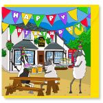 Birthday Card - Down The Pub - Sheep - Amy Whelan