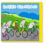 Birthday Card - Cycling Bike - Sheep - Amy Whelan