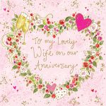 Wedding Anniversary Card - Wife - Wreath Heart - Ling Design