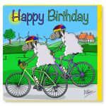 Birthday Card - Duo Cycling Bike - Sheep - Amy Whelan