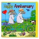 Wedding Anniversary Card - Bike Tandem - Sheep - Amy Whelan