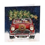 Charity Christmas Card Pack - 6 Cards - Xmas Classic Mini Car & Tree - Glitter Shelter