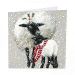 Charity Christmas Card Pack - 6 Cards - Sheep Dressed for Winter - Glitter Shelter