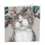 Charity Christmas Card Pack - 6 Cards - Cat & Robin - Glitter Shelter