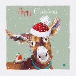 Charity Christmas Card Pack - 6 Cards Xmas Donkey - Glittered - Ling Design