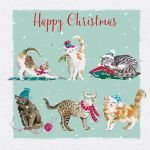 Charity Christmas Card Pack - 6 Cards Xmas Cat Purr-fect - Glittered - Ling Design