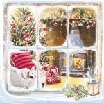 Charity Christmas Card Pack - 6 Cards - Warming by the Fire Dog Window - Ling Design