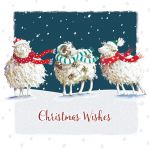 Luxury Christmas Cards - 10 Cards Three Sheep - Glittered - Ling Design