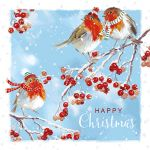 Luxury Christmas Cards - 10 Cards Robins - Glittered - Ling Design