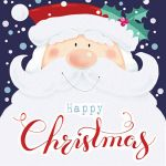 Christmas Card Pack - 5 Cards Santa Father Christmas Glittered Ling Design