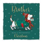 Christmas Card - Brother - Xmas Sausage Dog - The Wildlife Ling Design
