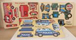 Wooden 3D Vehicles Jigsaw Puzzle - Police Tractor Fire - Set of 3