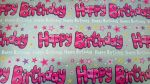 Pink & Silver Happy Birthday Gift Wrapping Paper Sheet & Tag