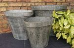 Zinc Metal Striped Cuff Large Garden Planter - 3 Sizes