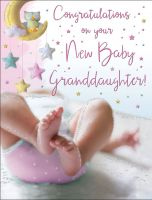 New Baby Girl Granddaughter Card - Congratulations