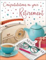 Retirement Card - Radio, Cup of Tea & Newspaper