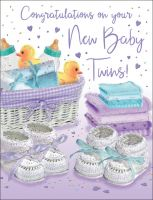 New Baby Twins Card - Congratulations Booties