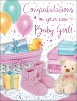 New Baby Girl Card - Pink Booties