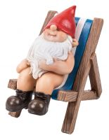 Gnaughty Gnome Naughty Deckchair Ornament Gift - Indoor or Outdoor - Funny