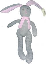 Rabbit Knitted Grey & Pink Soft Toy