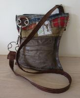 Wilkie Snaffle Beval Bit Blue Tweed & Leather Handbag - Joey D