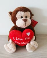 Monkey Soft Toy With Red Heart 20cm - I Love You This Much