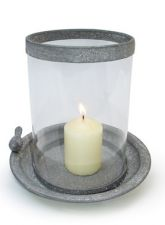Zinc Metal Glass Candle Holder With Bird